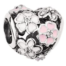 Ane Si Dora Sterling Silver Enamel Heart Multi Flower Charm