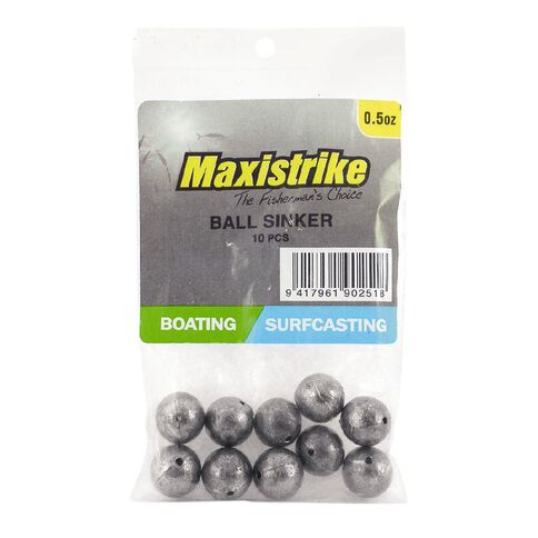 Maxistrike Fishing Sinkers Ball 1/2 oz 10 Pack