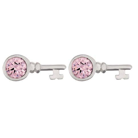 Sterling Silver Pink CZ Key Stud Small Earrings