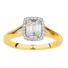 1/4 Carat of Diamonds 9ct Gold Diamond Baguette Halo Ring