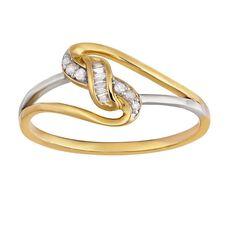 9ct Gold Diamond Baguette Cross Over Ring