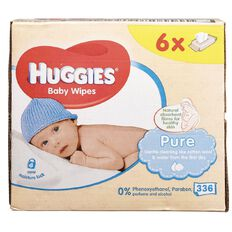 Huggies Pure Baby Wipes 6x56 Pack