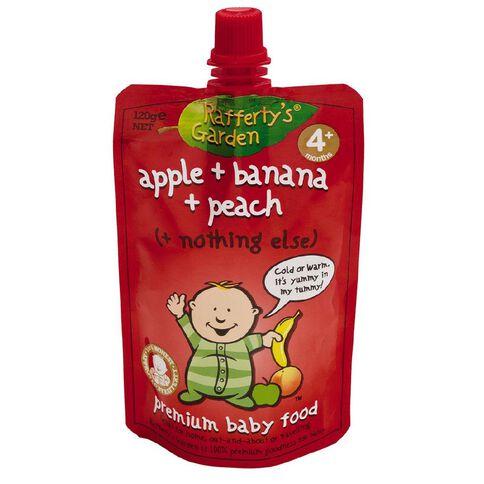 Rafferty's Garden Premium Baby Food Apple Banana & Peach Puree 120g