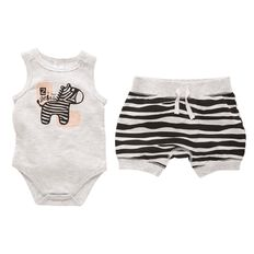 Hippo + Friends Baby Boy Sleeveless 2 Piece Set