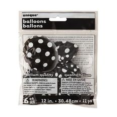 Unique Balloons Black with Dots 30cm 6 Pack