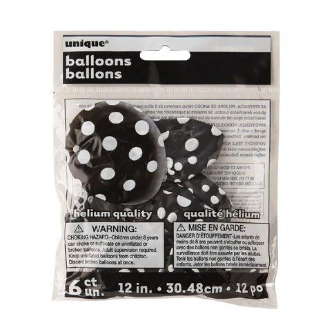 Unique Balloons Black with Dots 30cm 6 Pack
