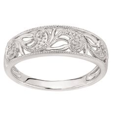 Sterling Silver Diamond Filigree Wave Ring