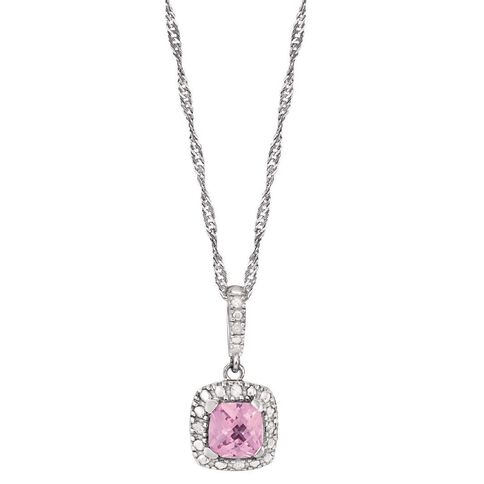 Sterling Silver Diamond and Created Pink Sapphire Cushion Cut Pendant