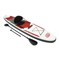 Inflatable Stand Up Kayak Set Grey & Red 335cm x 76cm x 15cm