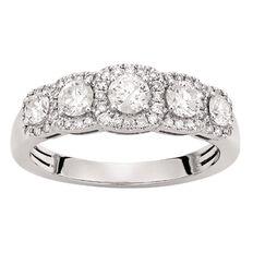 1 Carat Diamond  14ct Gold Diamond 4 Stone Halo Ring