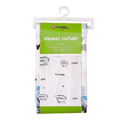 Necessities Brand Shower Curtain Peva 180cm x 180cm