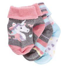 H&H Infants Girls' Turn Top Socks 3 Pack