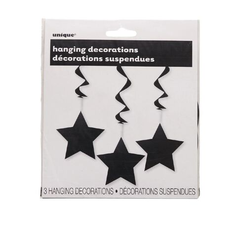 Unique Hanging Star Swirls Black 3 Pack