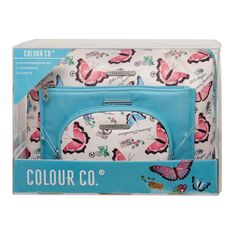 Colour Co. Toiletry Bag Weekender Butterfly/Blue 3 Piece