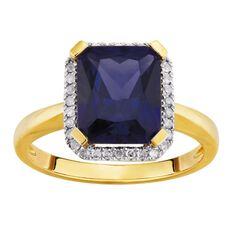 9ct Gold Diamond Synthetic Sapphire Square Halo Ring