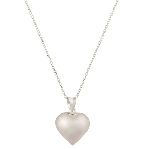 Sterling Silver Small Puff Heart Pendant