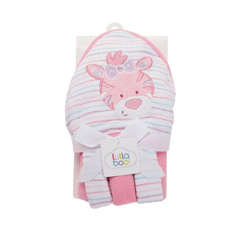 Lullaboo Novelty Towel and Facewasher Set Pink/Lavender