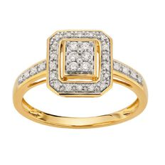 1/4 Carat of Diamonds 9ct Gold Halo Rectangle Ring