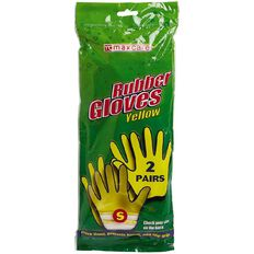 Maxcare Rubber Gloves Yellow 2 Pack 2 Pack
