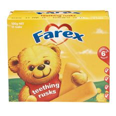 Farex Teething Rusks 100g 12 Pack
