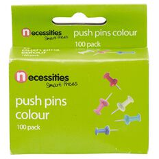 Necessities Brand Push Pins Coloured 100 Pack