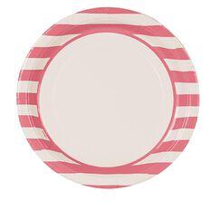 Unique Plates Stripes Pink 23cm 8 Pack