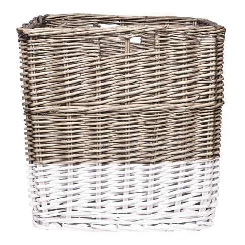 Solano Willow Basket Square Dipped White Large