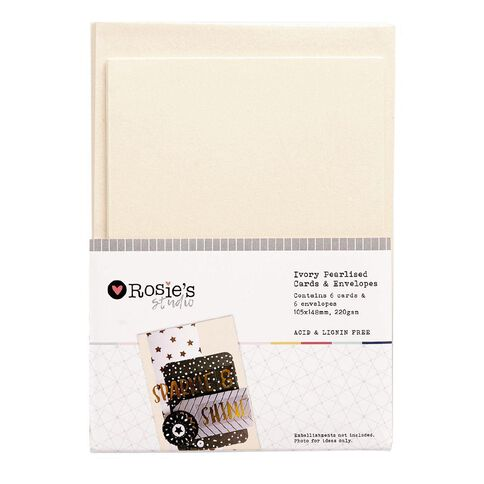 Rosie's Studio Ivory Pearlised Metallic Cards and Envelopes 6 Pack