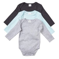 Hippo + Friends Baby Boy Long Sleeve Plain Bodysuit 3 Pack