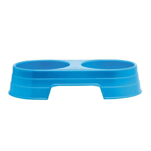 Petzone Twin Feeding Bowl Blue