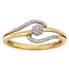 9ct Gold Diamond Fancy Dress Swirl Ring