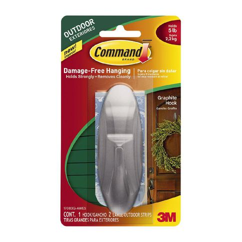 Command Outdoor Designer Large Hook with Foam Strips Graphite