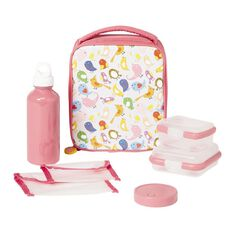 Necessities Brand Lunch Set Birds Pink 7 Piece