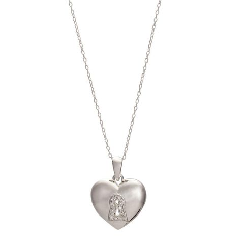 Sterling Silver CZ Key Heart Pendant