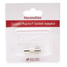 Necessities Brand Coaxial Plug to F Socket Adaptor