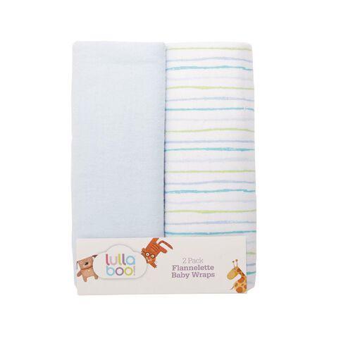 Lullaboo Flannelette Wraps Blue 2 Pack