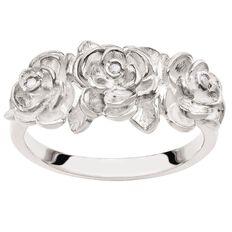 Sterling Silver Diamond Fancy Flower Ring