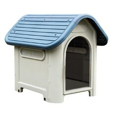 Petzone Plastic Dog House Blue Roof 750mm x 592mm x 660mm