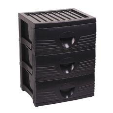 Taurus Plastic Drawers 3 Drawers Charcoal A2