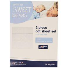 Mother's Choice Star Catcher Cot Sheet Set 2 Pack Cream