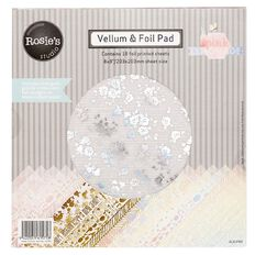Rosie's Studio Pink Lemonade Vellum Foil Pad 8in x 8in 18 Sheet
