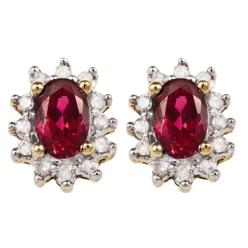 9ct Gold Diamond Synthetic Ruby Cluster Earrings