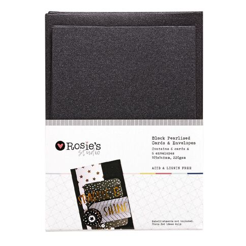 Rosie's Studio Black Pearlised Metallic Cards and Envelopes 6 Pack