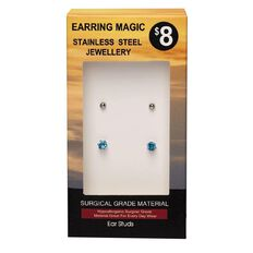 Stainless Steel Blue CZ and Ball Studs Earrings 2 Pack