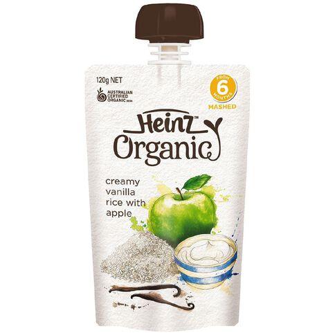 Heinz Organic Creamy Vanilla Rice Pouch 120g