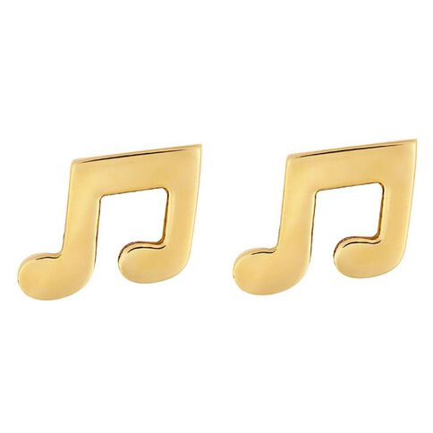 Pia Notes 9ct Gold Double Note Stud Earrings