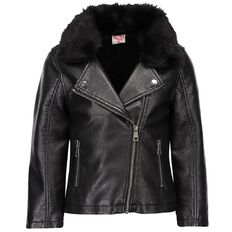 A'nD Faux Fur Collar PU Jacket