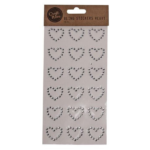 Craftwise Bling Stickers Hearts 18 Pack