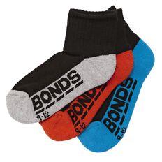 Bonds Boys' Logo Quarter Crew Socks 3 Pack