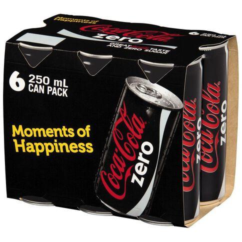 Coca Cola Coke Zero Cans  6 Pack 250ml